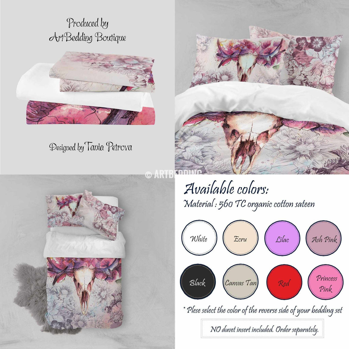Deer skull Totem bedding set, Watercolor deer skull totem duvet bedding set, Spiritual bohemian bedding, boho totem bedspread, artbedding Bedding set
