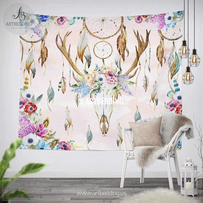 Deer skull Totem Dreamcatcher wall tapestry, Deer Skull wall hanging,Dreamcatcher  wall art print, Feathers boho wall tapestries Tapestry