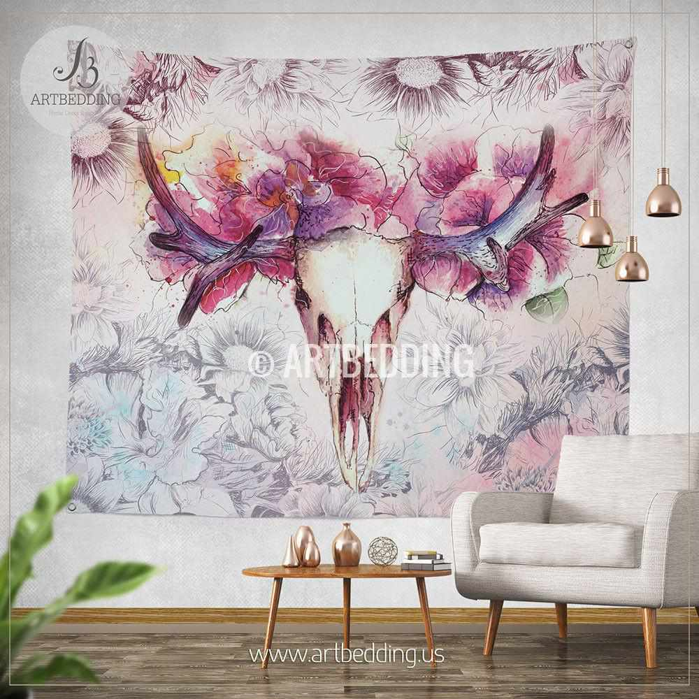 Spiritual Wall Art deer skull totem wall tapestry, wartercolor deer skull wall