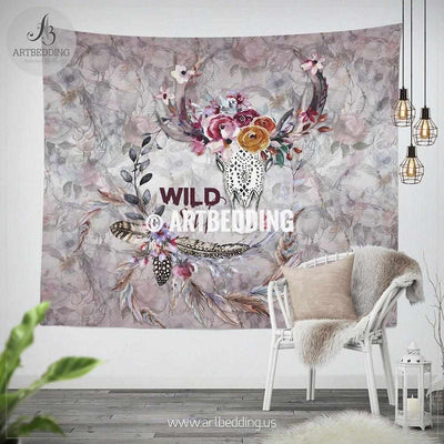Deer skull Totem wall tapestry, Wartercolor deer skull with wildflowers wall hanging, Spiritual Totem wall art print, Totem animal wall decor Tapestry