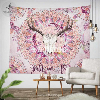 Deer skull tribal wall tapestry, Deer skull wall hanging, Tribal mandala wall art print, boho wall tapestries Tapestry