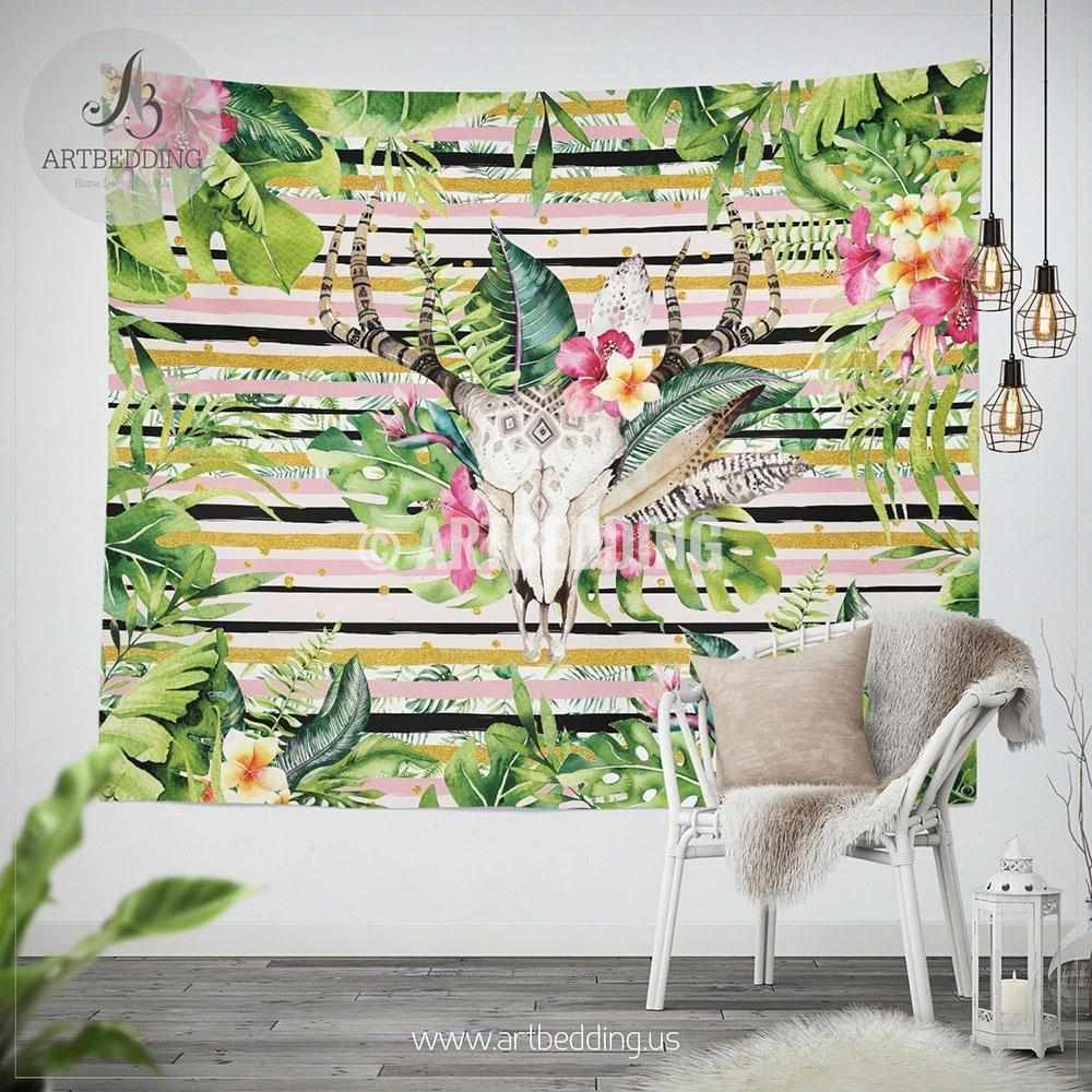 Deer skull tropical vibes wall tapestry, Engraved Deer skull with tropical flowers wall hanging, Summer vibes totem skull wall art print, boho skull wall tapestries Tapestry