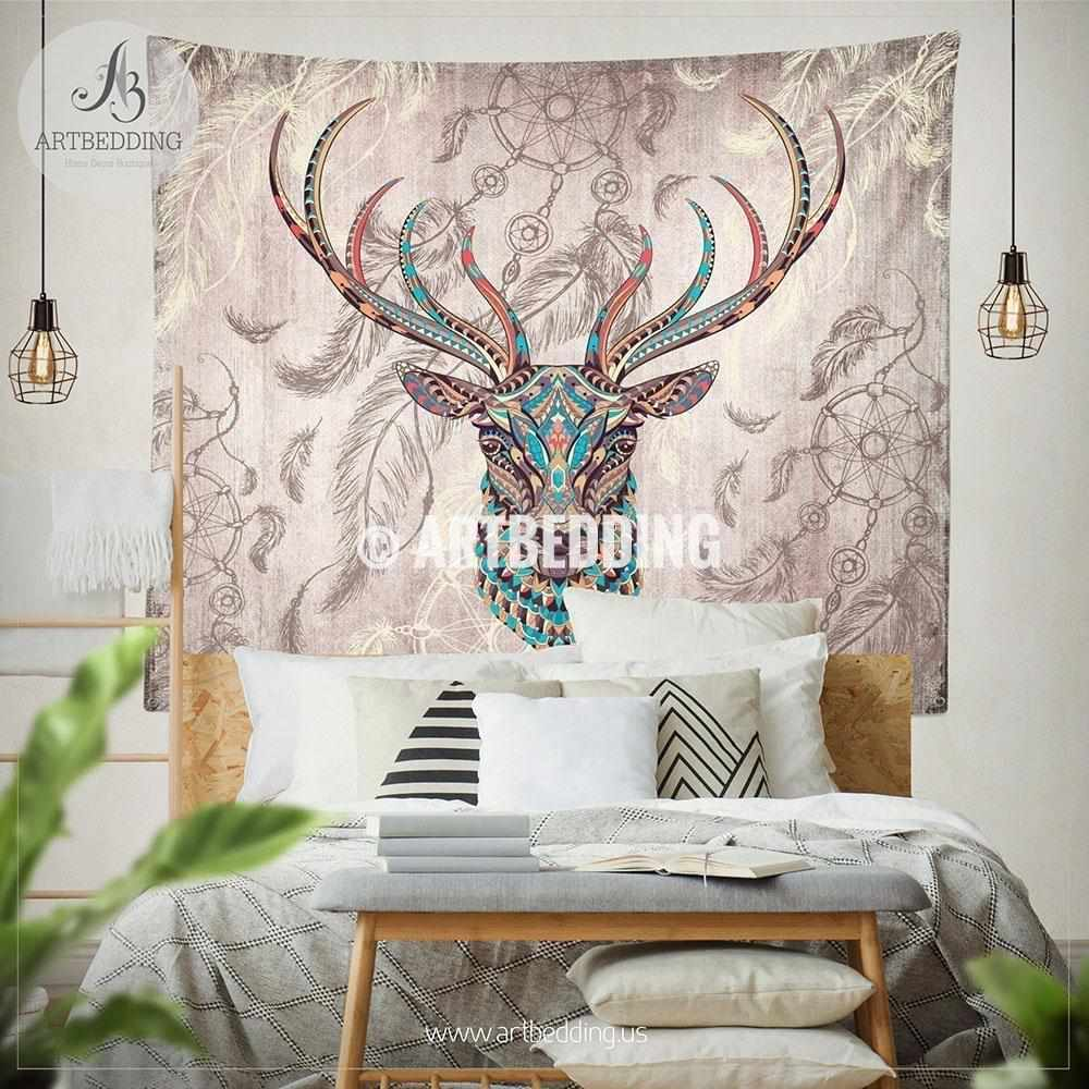 Deer Totem Zentangle Dreamcatcher wall tapestry, Deer wall hanging, Dreamcatcher wall art print, Deer head boho wall tapestries Tapestry