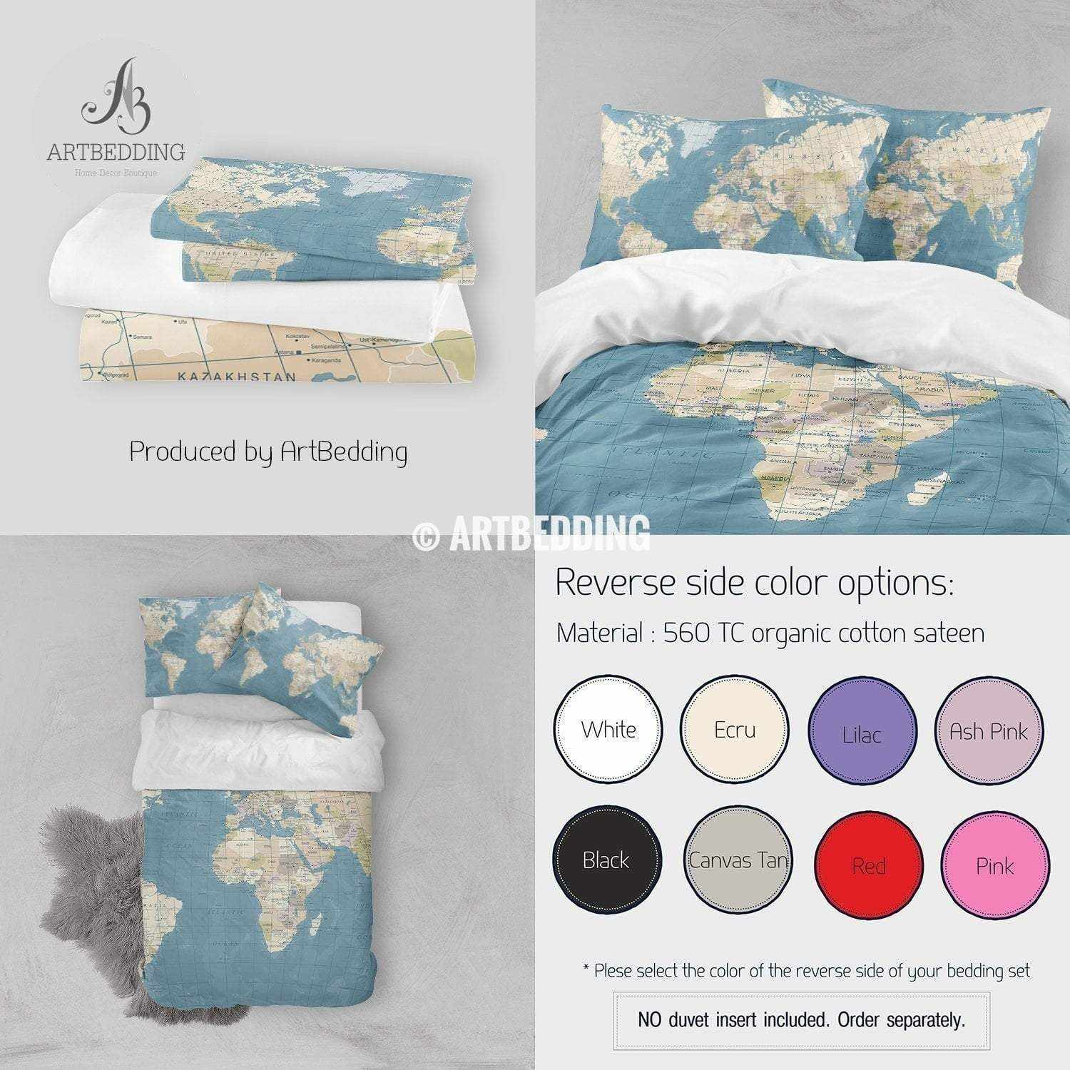 Detailed Travel World Map bedding, Vintage look political map duvet cover  set, Modern travel comforter set