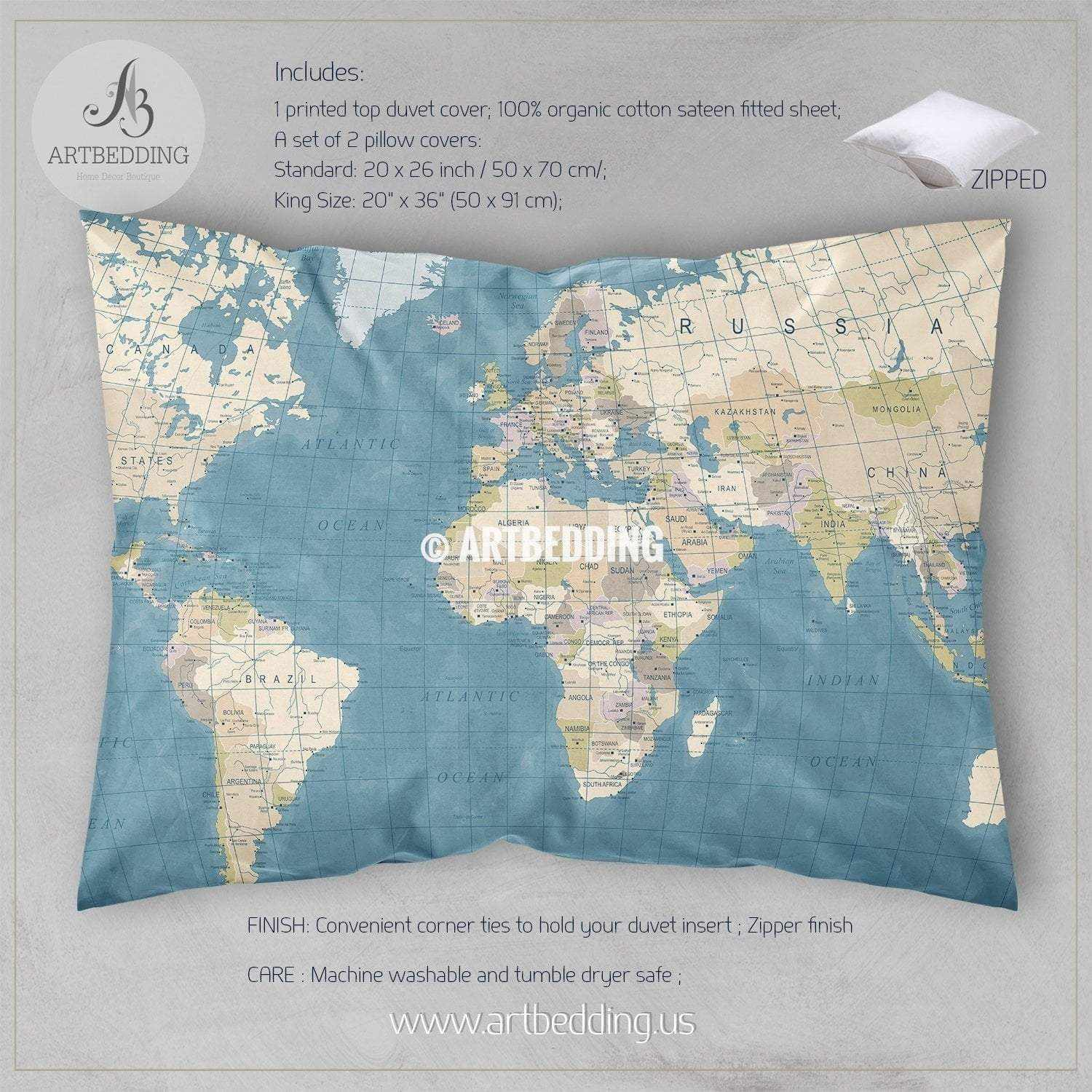 Vintage Looking World Map.Detailed Travel World Map Bedding Vintage Look Political Map Duvet