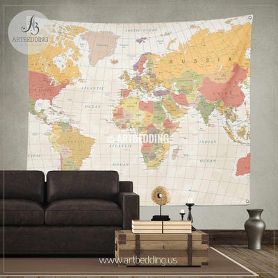 Detailed Vintage World Map wall tapestry, vintage interior map wall hanging, old map wall decor, vintage map wall art print Tapestry