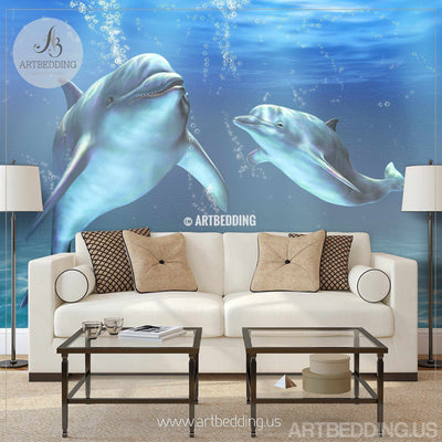 Dolphins Wall Mural, Dolphins Self Adhesive Peel & Stick Photo Mural, Dolphins wallpaper wall mural