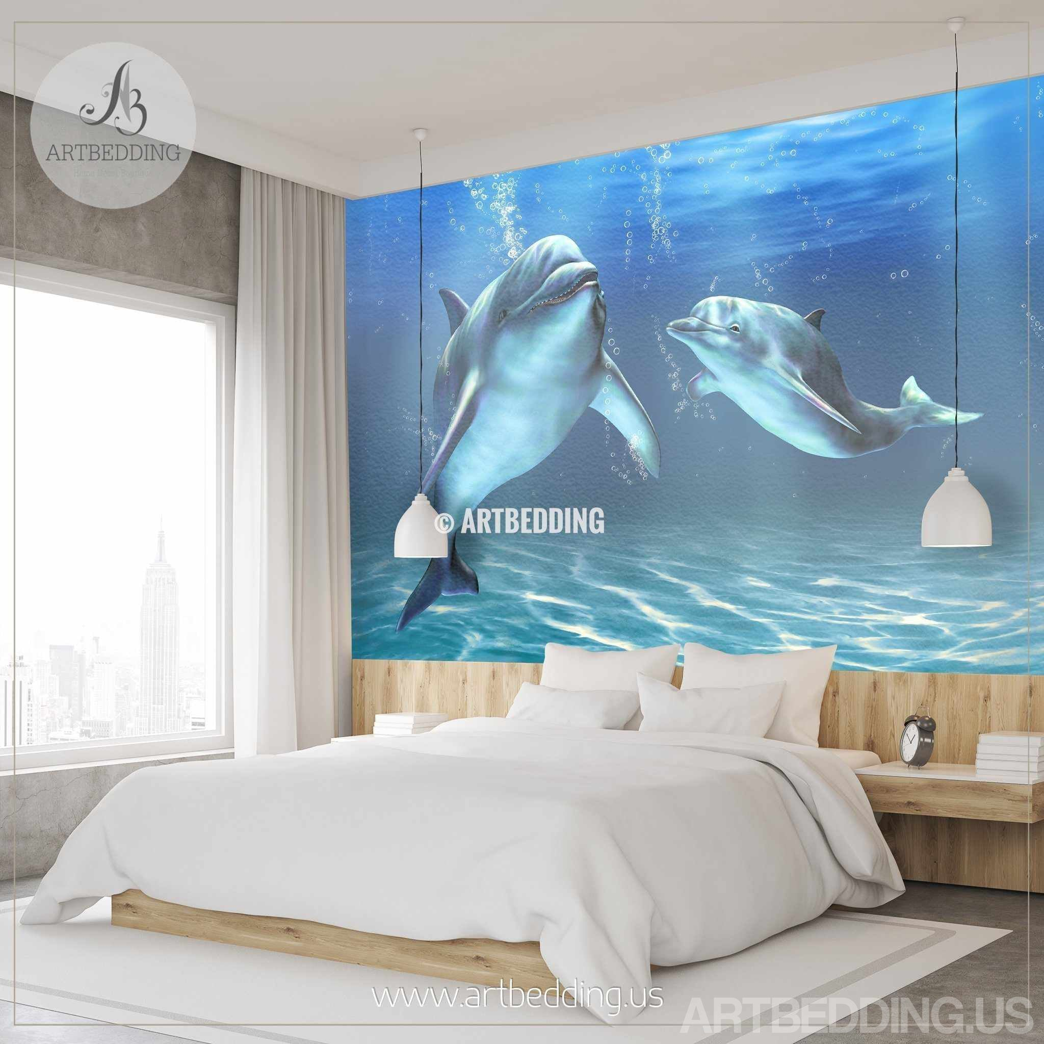 ... Dolphins Wall Mural, Dolphins Self Adhesive Peel U0026 Stick Photo Mural,  Dolphins Wallpaper Wall ...