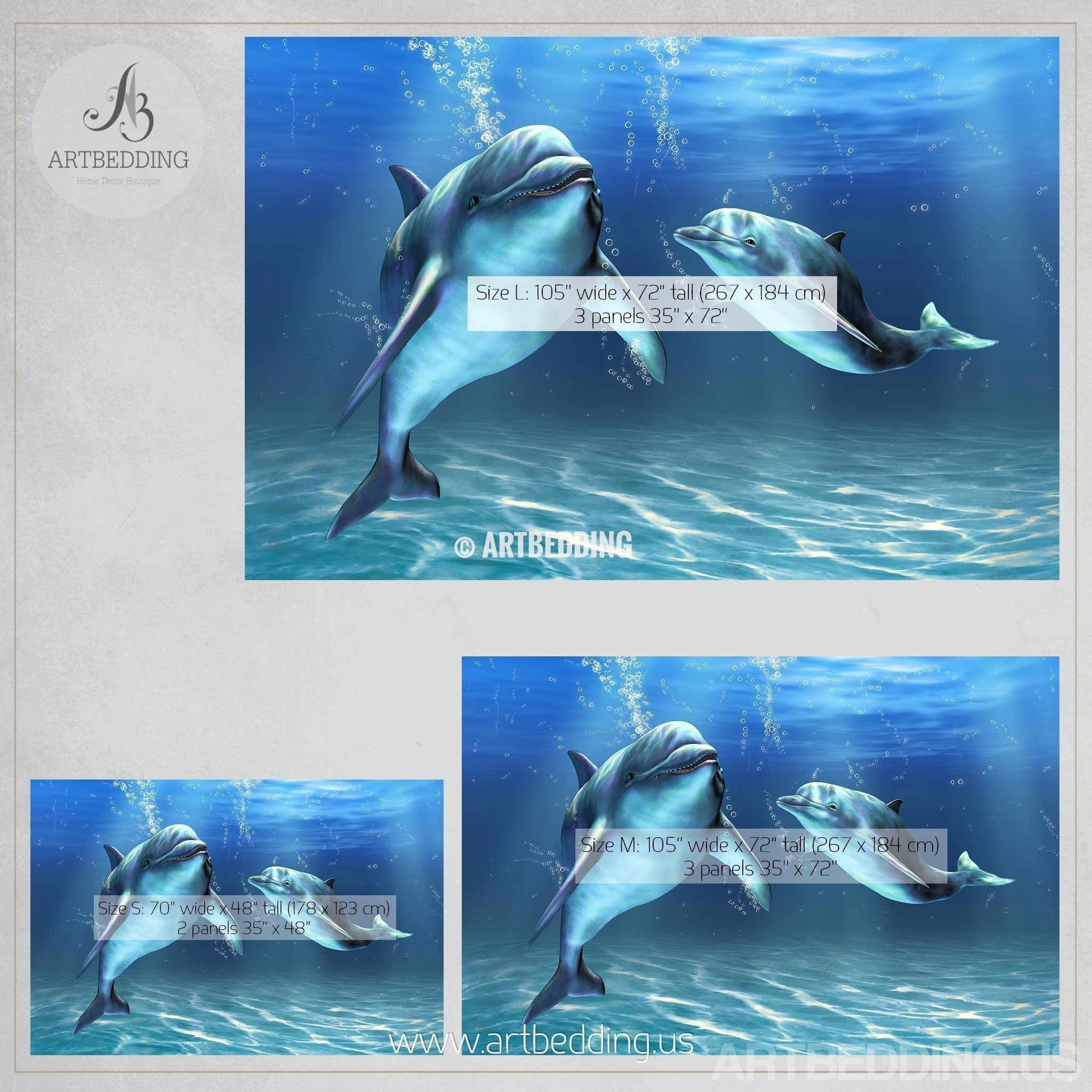 Dolphins Wall Mural Self Adhesive Peel Stick Photo Wallpaper