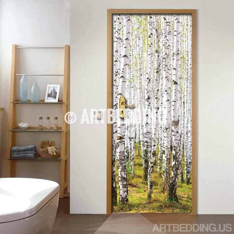 Door Sticker Birch Trees Self Adhesive Vinyl
