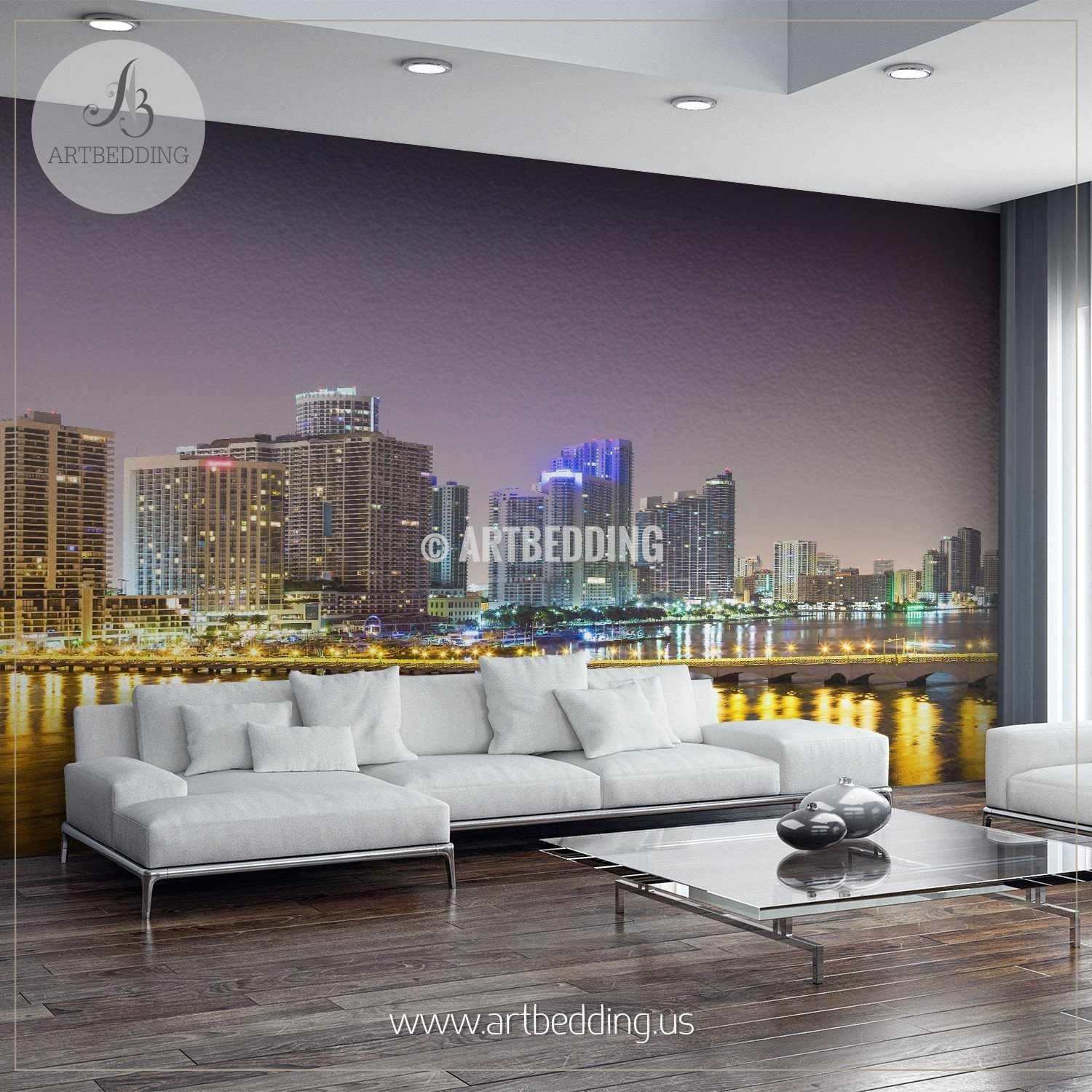Downtown miami at night cityscape wall mural usa photo for Cityscape murals photo wall mural