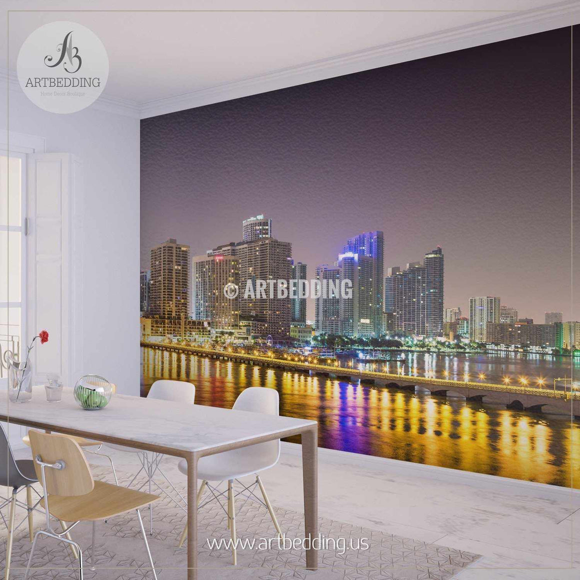 Downtown Miami at Night Cityscape Wall Mural, USA Photo sticker, USA wall decor wall mural