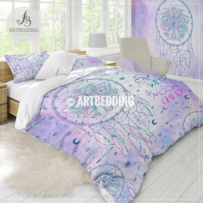 Dreamcatcher boho bedding, Stay wild moon child dreamcatcher feathers duvet bedding set, Native dreamcatcher boho decor , Dreamcatcher comforter set Bedding set