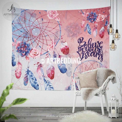 Dreamcatcher wall tapestry, Bohemian dreamcatcher with feathers wall hanging, Handpainted Dreamcatcher quote wall art print, boho wall tapestries Tapestry
