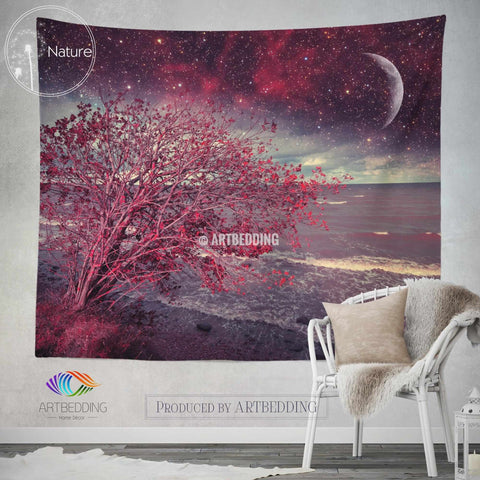 Dreamy night sky wall tapestry, Night sky wall tapestry, Serenity night wall decor, Magical night wall hanging, bohemian wall tapestry