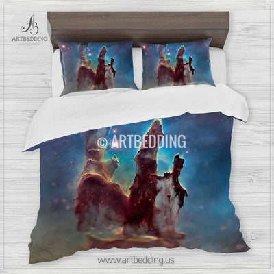 Eagle nebula space bedding, The Pillars of Creation cluster of stars Bedding set, Deep space Galaxy Duvet Cover set, Space bedroom Bedding set