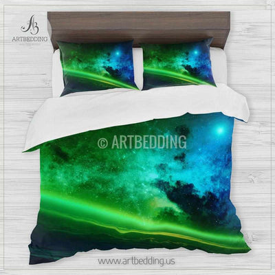 Earth from Space bedding, Space Bedding set, Blue and green nebula galaxy Duvet Cover set, Space bedroom Bedding set