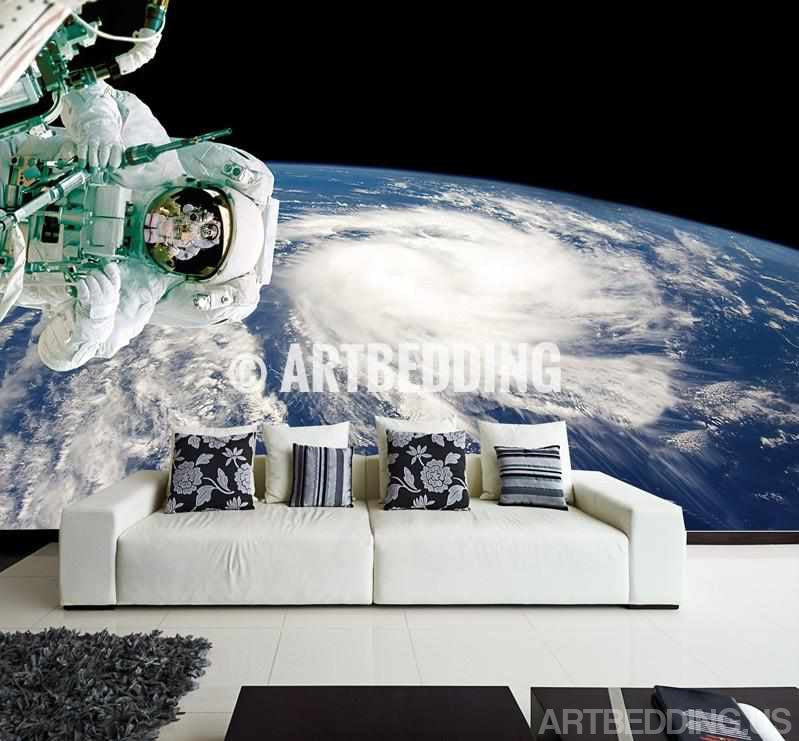 Earth from Space Wall Mural, Self Adhesive Peel & Stick Photo Mural