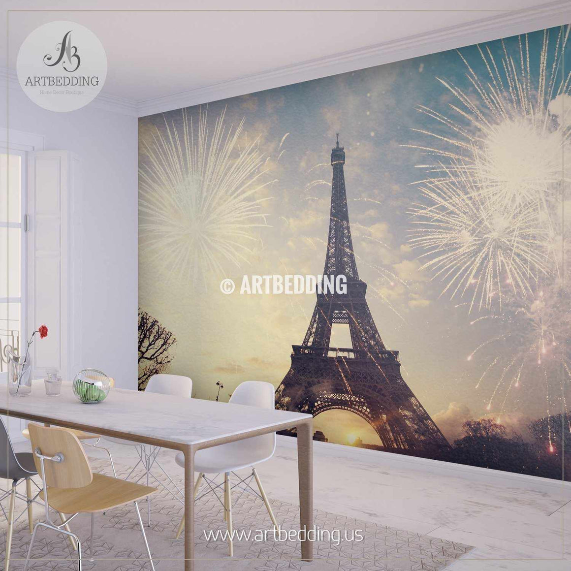 Eiffel tower with fireworks Wall Mural, Photo Mural, wall décor wall mural