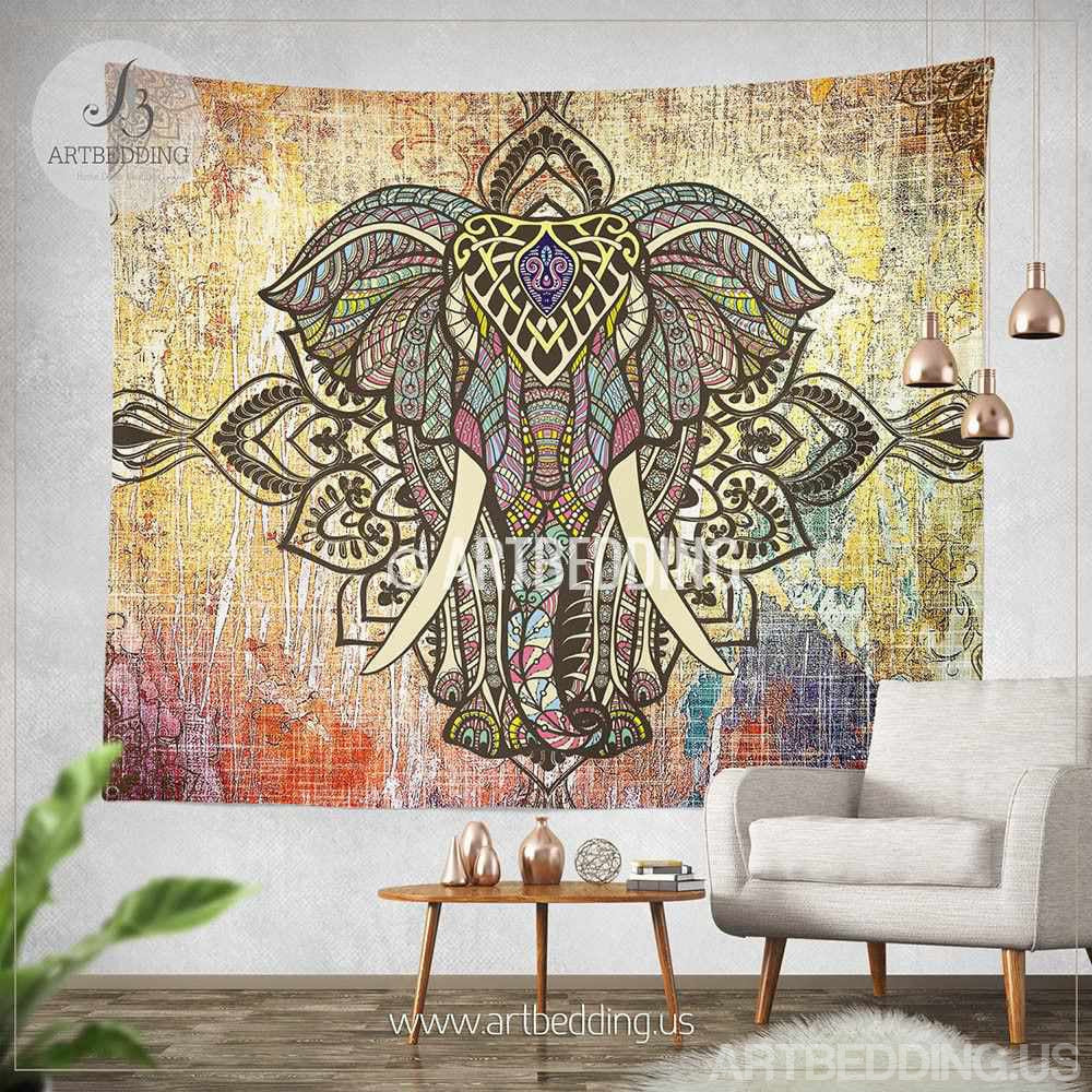 Bohemian Tapestry Wall Hanging elepahnt tapestry, bohemian wall tapestry, hippie tapestry wall