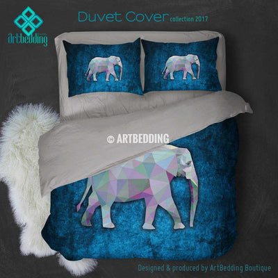 Elephant Animal head geometry Duvet cover, Elephant Animal totem duvet cover, Elephant head animal duvet, custom designer duvet artbedding