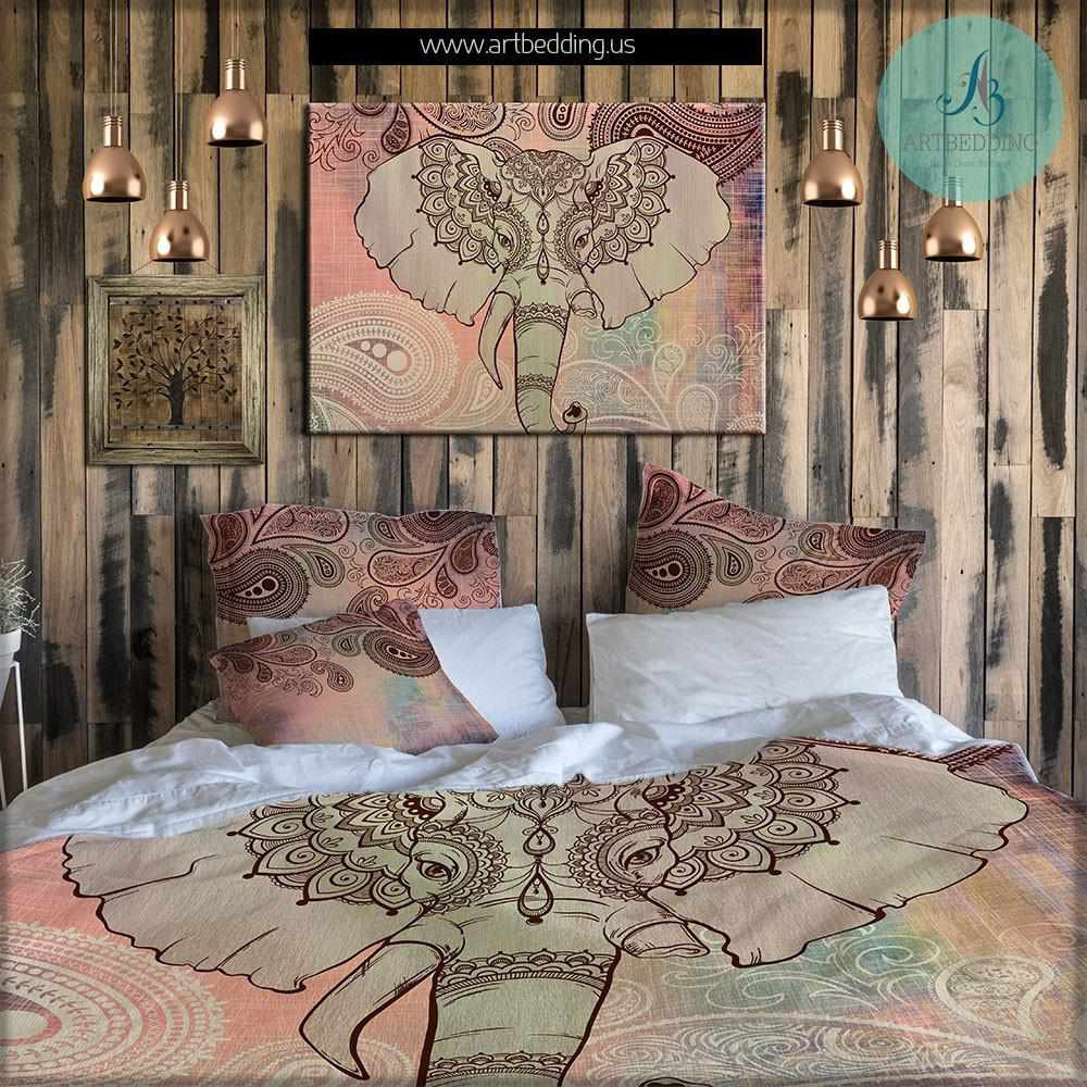 Elephant Decor Ideas: Elephant Bedding, Bohemian Duvet Cover Set, Boho Indie