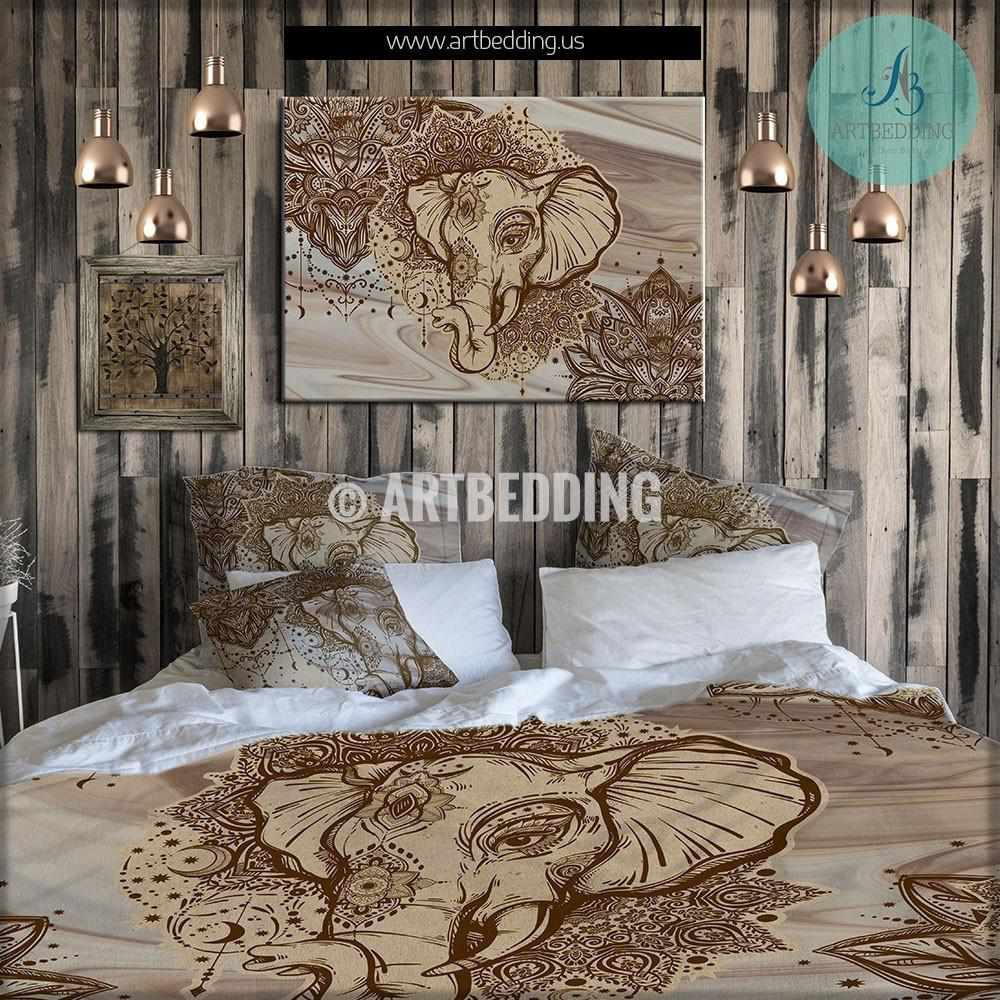 Elephant bedding bohemian duvet cover set indie ganesha - Bedding and curtains for bedrooms ...