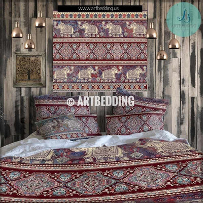 Elephant bedding, Bohemian duvet cover set, Indie Ganesh vintage bedding set, Boho elephant bedroom decor Bedding set
