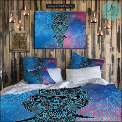 Elephant bedding, Bohemian galaxy duvet cover set, Galaxy elephant bedding, bohemian decor Bedding set