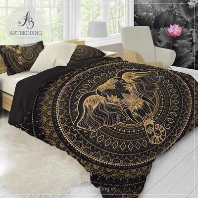 Elephant bedding, Bohemian Indie Ganesha duvet cover set, Black and beige Indie elephant duvet, boho bedspread Bedding set