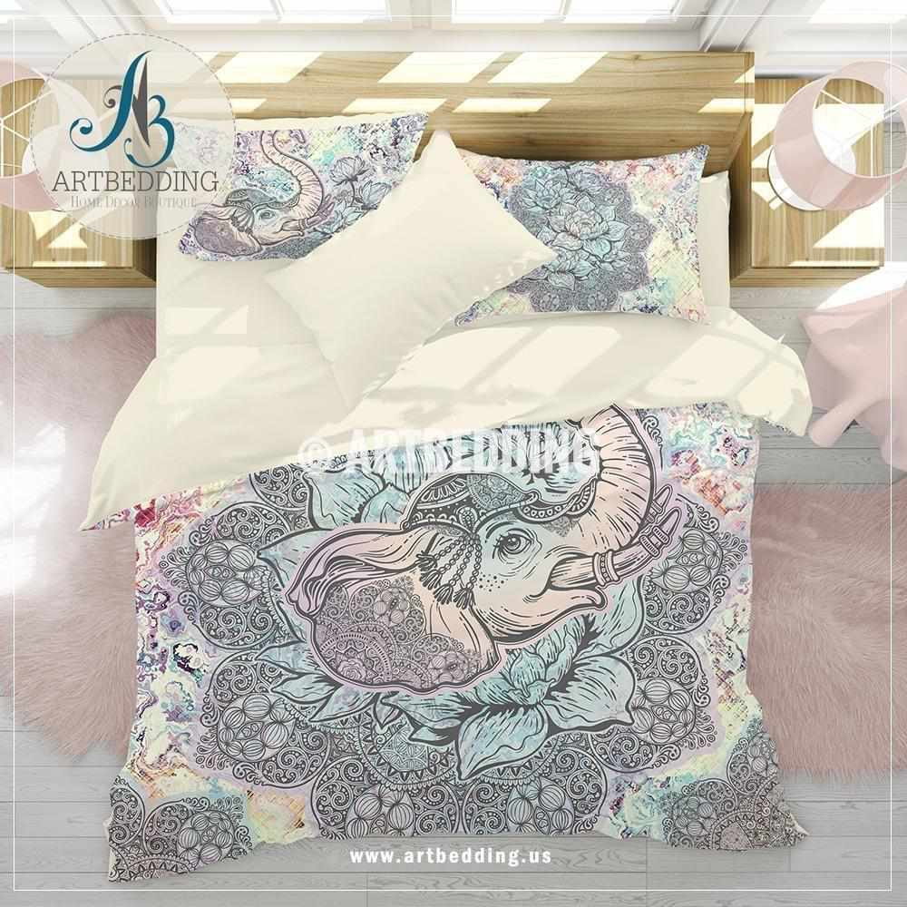 Elephant bedding, Bohemian Indie Ganesha duvet cover set, Blue and purple elephant comforter set Bedding set