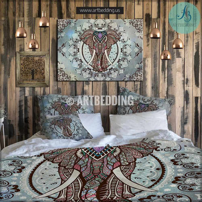 Elephant bedding, Boho mandala queen / king / full / twin duvet cover set, Elephant bohemian vintage bedding set, Boho duvet cover set Bedding set