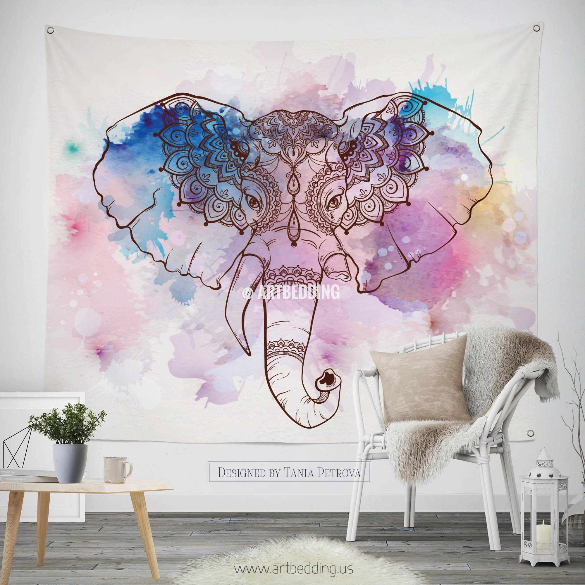 Elephant tapestry bohemian wall tapestry hippie tapestry for Elephant wall mural