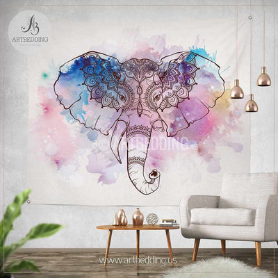 Elephant Tapestry, Bohemian wall tapestry, Hippie tapestry wall hanging, Ganesh wall tapestry, Watercolor elephant bohemian decor Tapestry