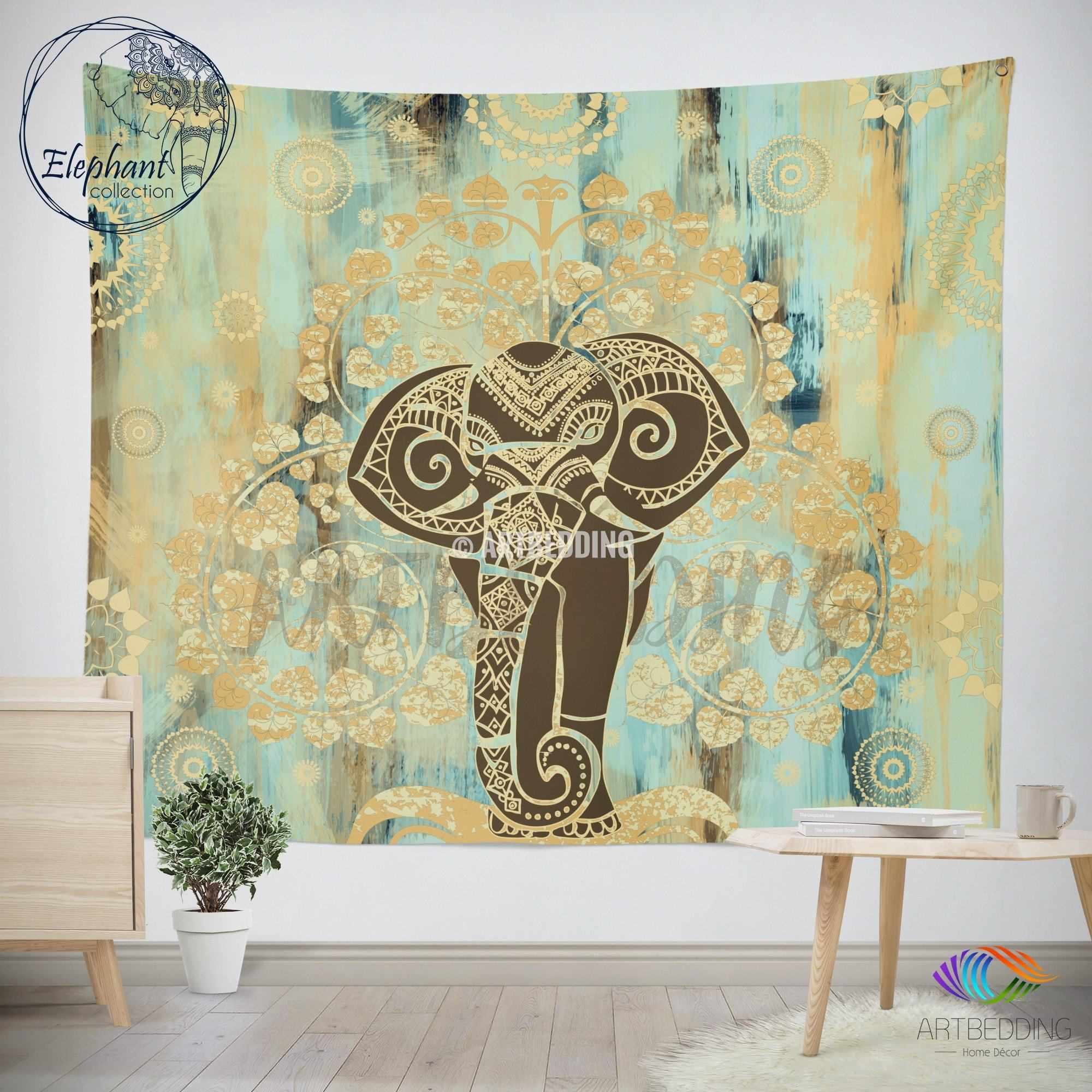 Elephant Tapestry Wall Hanging elephant tapestry, boho tree of life wall tapestry, hippie