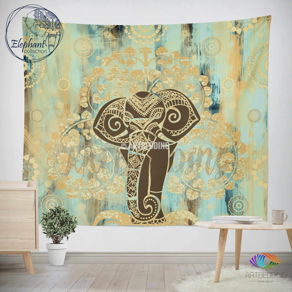 Elephant Tapestry, Boho tree of life wall tapestry, Hippie tapestry wall hanging, bohemian bodhi tree tapestry
