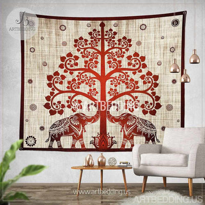 Elephant Tapestry, Boho tree olf life wall tapestry, Hippie tapestry wall hanging, bohemian Ethnic tie dye tapestry Tapestry