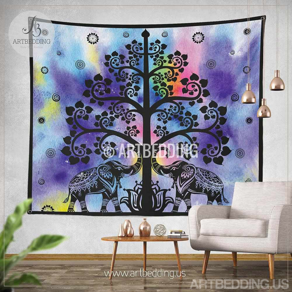 Elephant Tapestry Wall Hanging elephant tapestry, boho tree olf life wall tapestry, hippie
