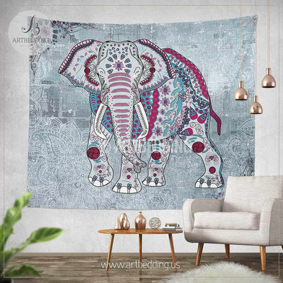 Elephant Tapestry, Elephant wall tapestry, Indie tapestry wall hanging, bohemian wall tapestries, Boho tapestries, Ethno vintage decor Tapestry