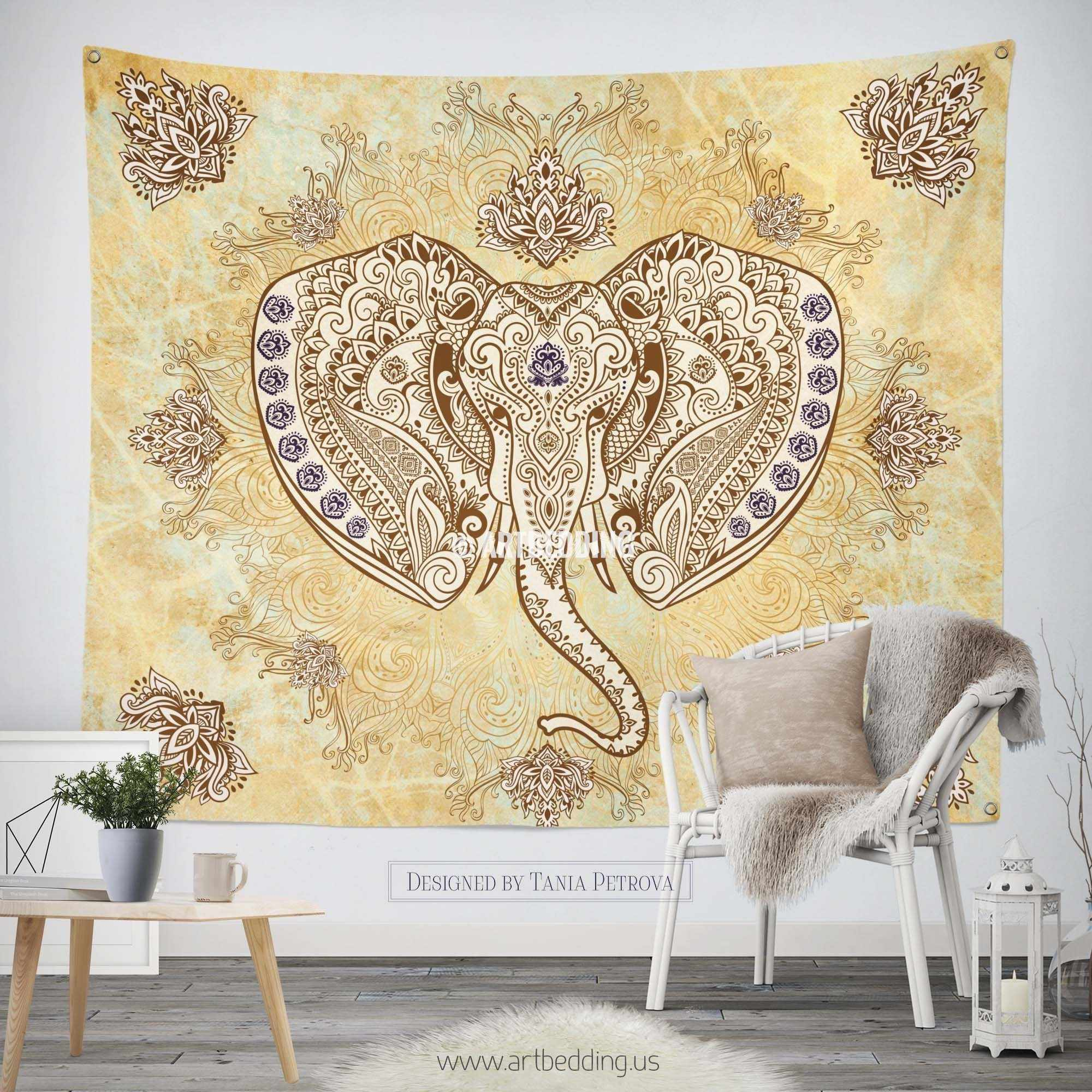Elephant Tapestry, Ganesh Elephant head wall tapestry, Elephant ...