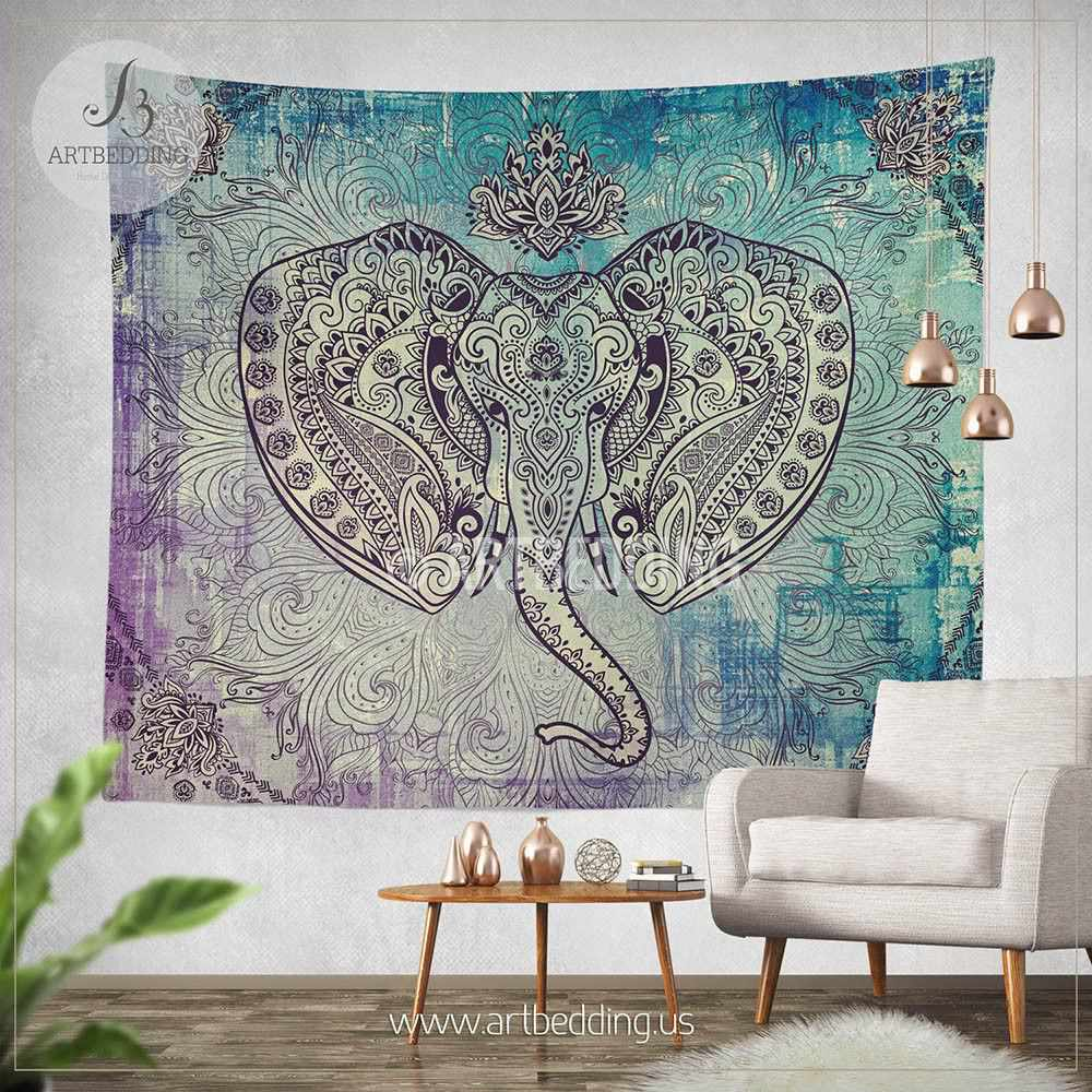 Boho elephant tapestry ganesh elephant wall hanging for Elephant wall mural