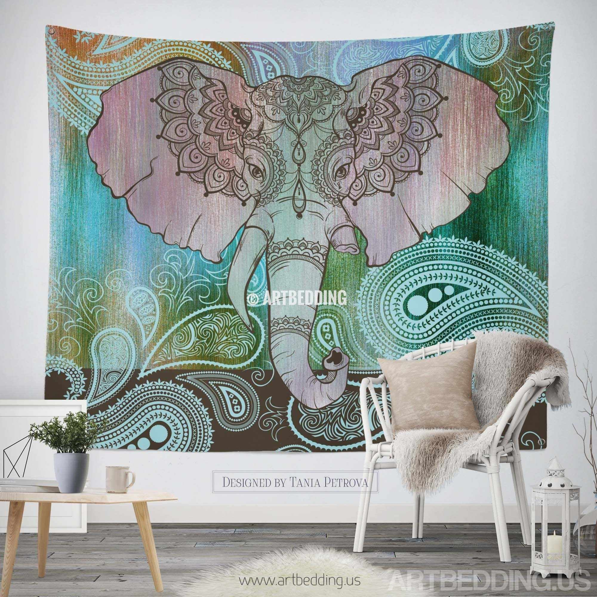 Elephant tapestry indie tapestry wall hanging bohemian for Elephant wall mural