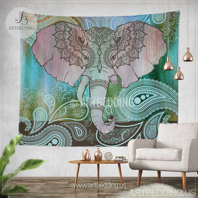 Elephant Tapestry, Indie tapestry wall hanging, bohemian decor, bohochic wall art print Tapestry