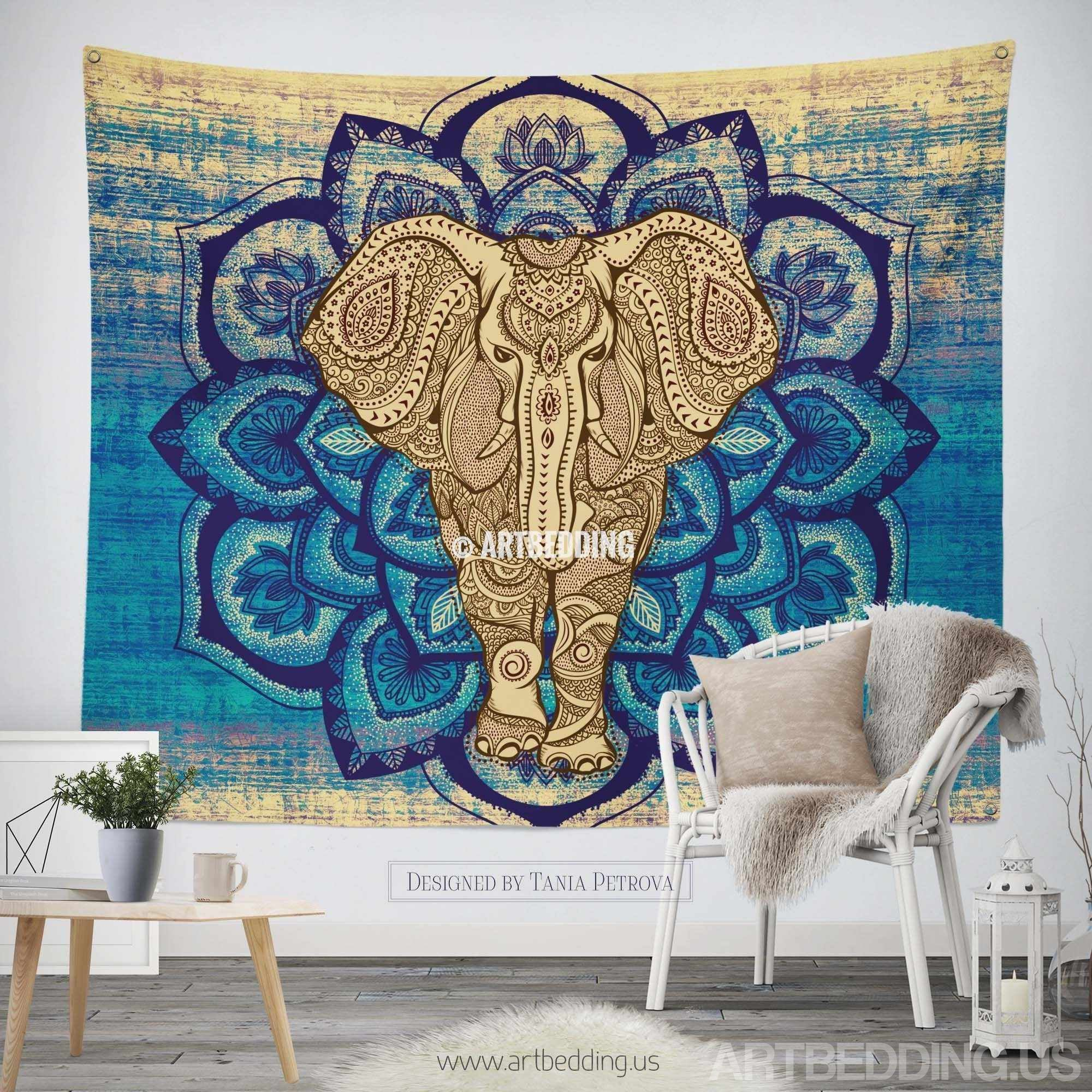 Elephant Tapestry Wall Hanging elephant tapestry, lotus mandala wall tapestry, hippie tapestry