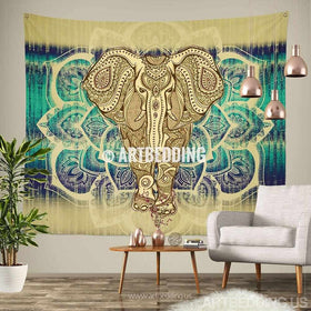 Elephant Tapestry Lotus Mandala Wall Hippie Hanging Bohemian Tapestries