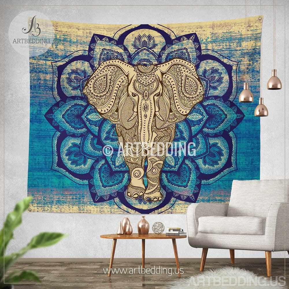 Elephant tapestry lotus mandala wall tapestry hippie for Mural mandala
