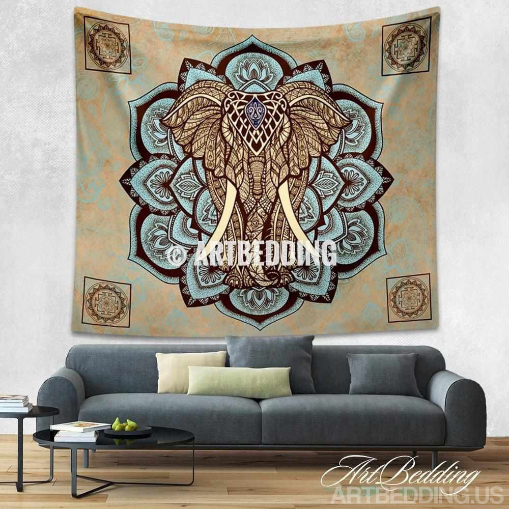 Elephant Tapestry Wall Hanging elephant tapestry, lotus wall tapestry,hippie tapestry wall