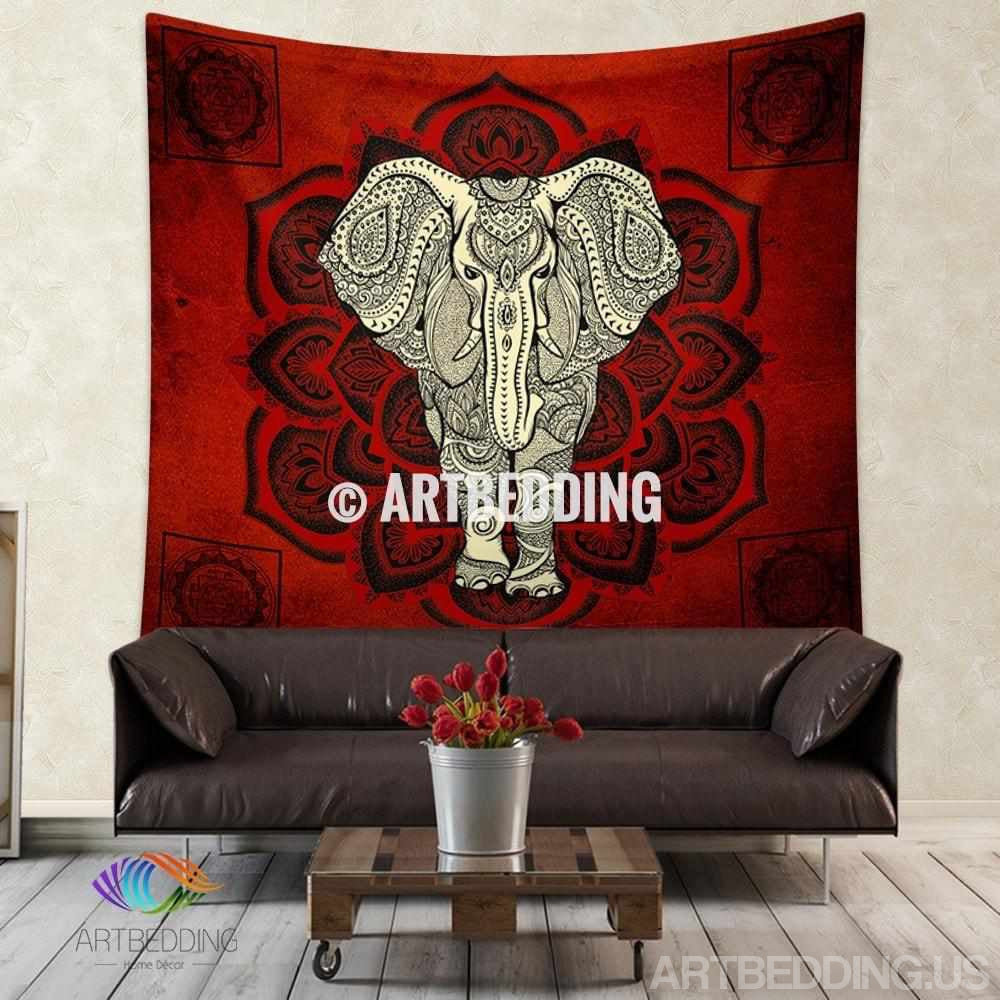 Elephant Tapestry Wall Hanging elephant tapestry, mandala wall tapestry, hippie tapestry wall