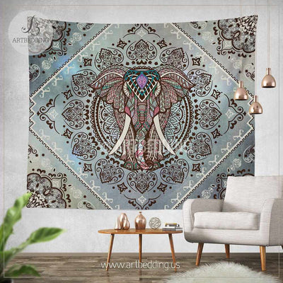 Elephant wall tapestry, Bohemian Tapestry, Hippie tapestry wall hanging, bohemian wall tapestries, Boho tapestries, Ethnic bohemian decor Tapestry
