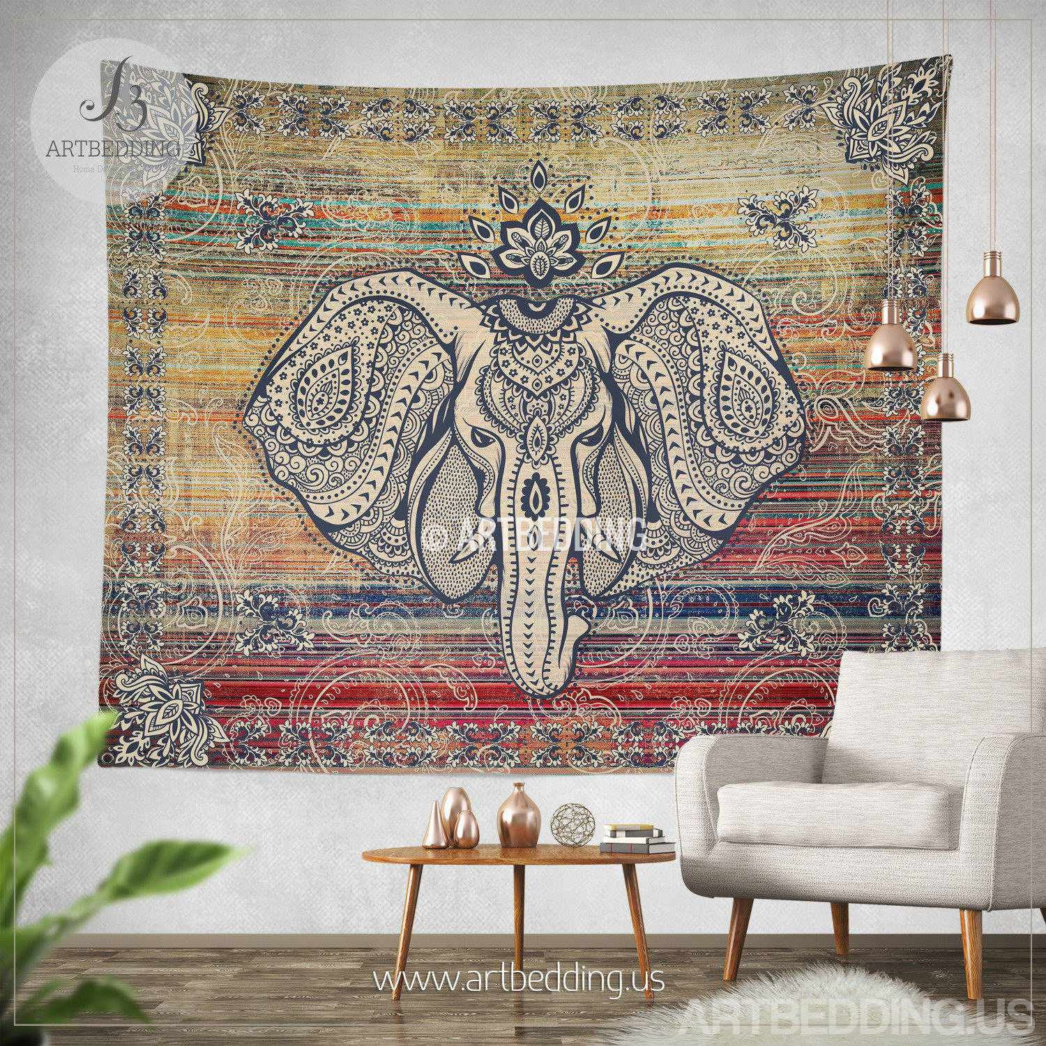Tapestry Wall Hanging ethno ganesh wall tapestry, elephant head wall tapestry, hippie